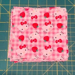 Pre Cut Fabric Squares Cotton Hello Kitty Print